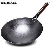 High Quality Iron Wok Traditional Handmade Iron Wok Non-stick Pan Non-coating Gas Cooker Cookware Uncoated Health Iron Pan