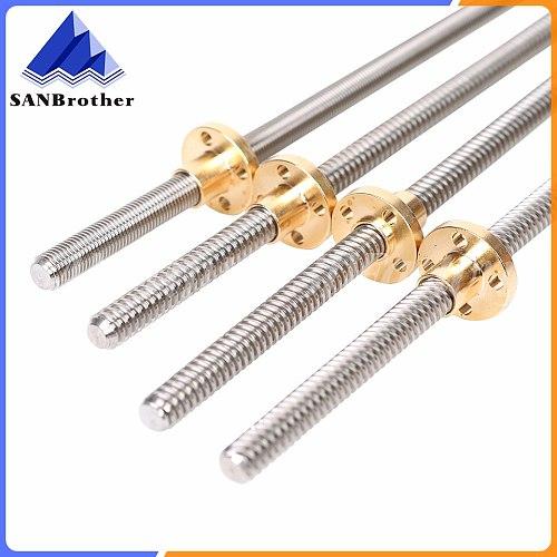3D Printer THSL-300-8D Trapezoidal Rod T8 Lead Screw Thread 8mm Lead1mm Length100mm200mm300mm400mm500mm600mm with Brass Nut