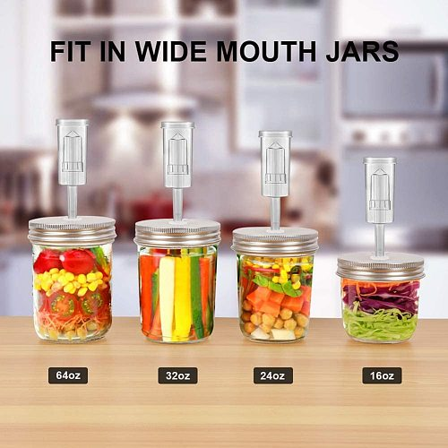 Wide Mouth Mason Jar Set wirh Fermentation Lid and Airlock Household Kitchen Supplies CLH@8