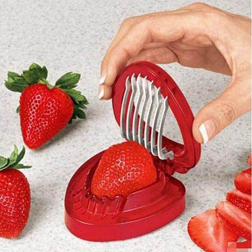 Strawberry Slicer Fruit Cutter Carving Tool Salad Cutter Stainless Steel strawberry cutter Fruit slicer Portable Kitchen Gadgets