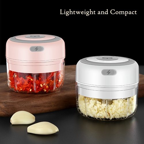 100ml Mini Electric Garlic Grinder Portable Food Press Mincer Seasoning Masher Spice Chopper Kitchen Accessories