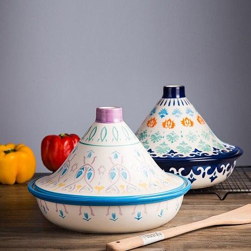 European Creative Hand-made Unglazed Color Export Taji Pot Ceramic Unopened Flame Tableware Microwave Oven Household Plate