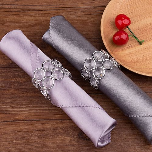 Hot Silver Crystal Bead Hollow Napkin Ring Table Buckle Holder Party Dinner Dec Wedding Event Decoration Crafts Party Supplies