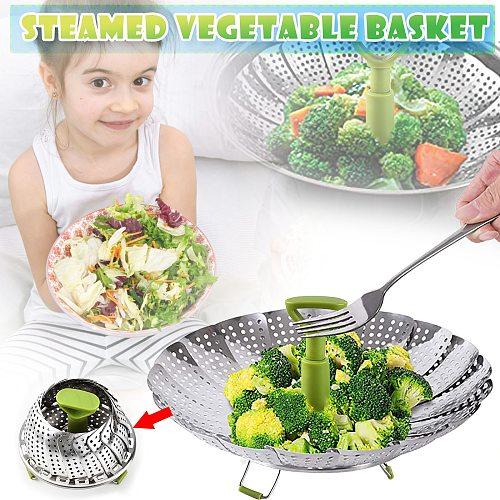 304 Stainless Steel Steamer Basket Foldable Extendable Vegetable Food Steamer Multipurpose Cooking Baking Steamer Kitchen Tools