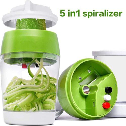 Handheld Spiralizer Vegetable Fruit Slicer 5 in 1 Adjustable Spiral Grater Cutter Salad Tools Zucchini Noodle Spaghetti Maker