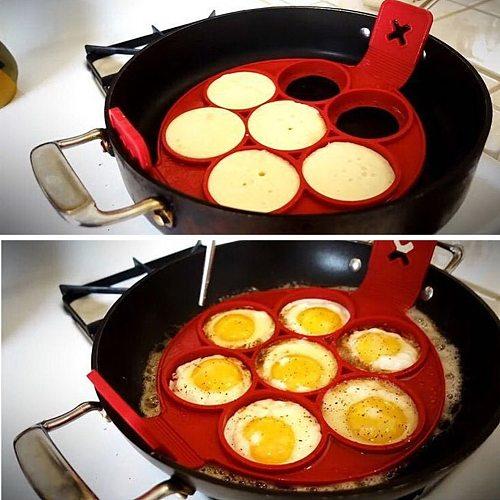 7 Holes Nonstick Pancake Maker Silicone Egg Ring Mold Round Pancake Egg Tools Breakfast Maker Kitchen Cooking Gadgets