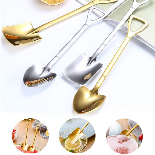 2PC 410 creative retro shovel coffee spoon stainless steel dessert spoon watermelon spoon ice cream spoon tip shovel flat shovel