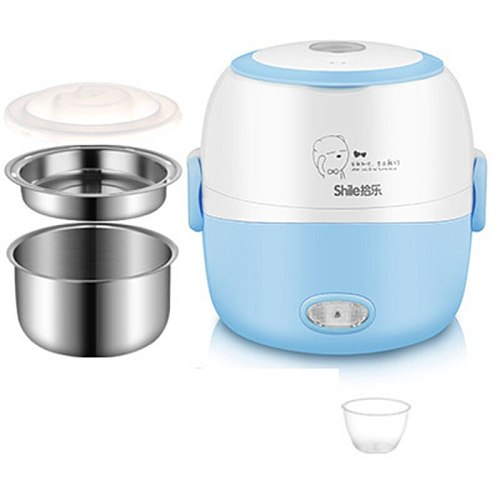 MINI Rice Cooker Thermal Heating Electric Lunch Box 2 Layers Portable Food Steamer Cooking Container Meal Lunchbox Warmer