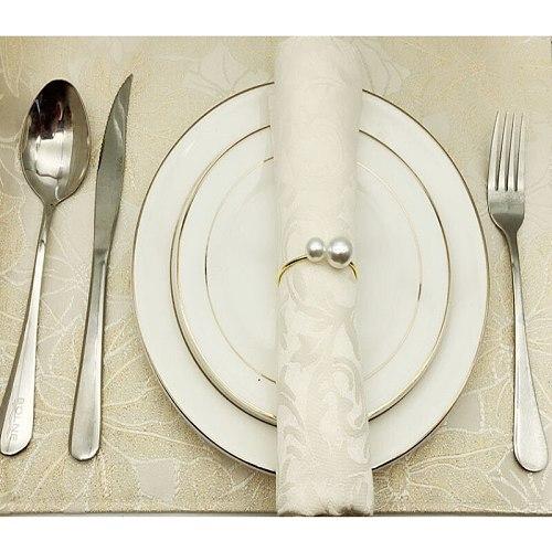 12pcs Napkin Rings Napkin Holder For Wedding Hotel Table Metal Decoration Napkin Ring Towel Buckle Pearl Napkin Cloth Button