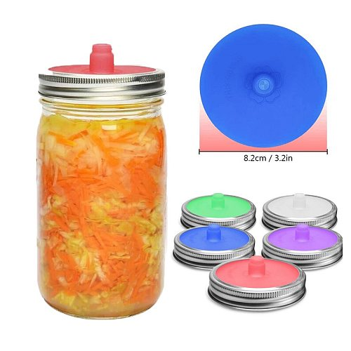 86mm Silicone Waterless Airlock Fermentation Lid with Metal Ring for Wide Mouth Mason Jar for Sauerkraut Fermented Kitchen Tool
