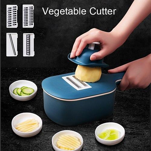 Multifunctional Vegetable Cutter Potato Shredder Fruit Slicer Chopper Drain Basket Slicers Kitchen Tools Accessories