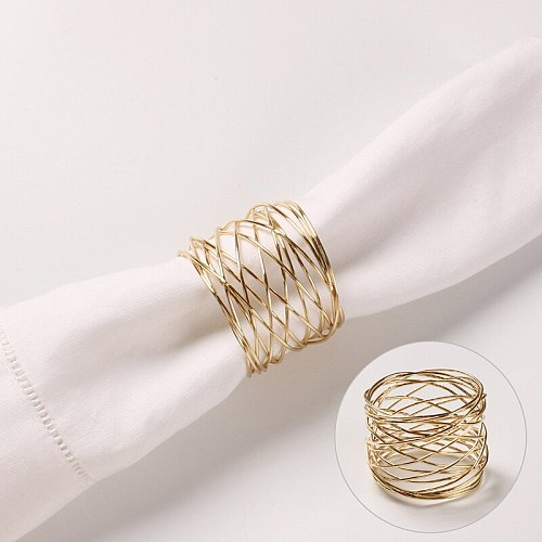 1pc High Quality Wide Round Gold Napkin Rings Metal Cross Hollow Gold Napkin Holder For Table Decoration 4cm