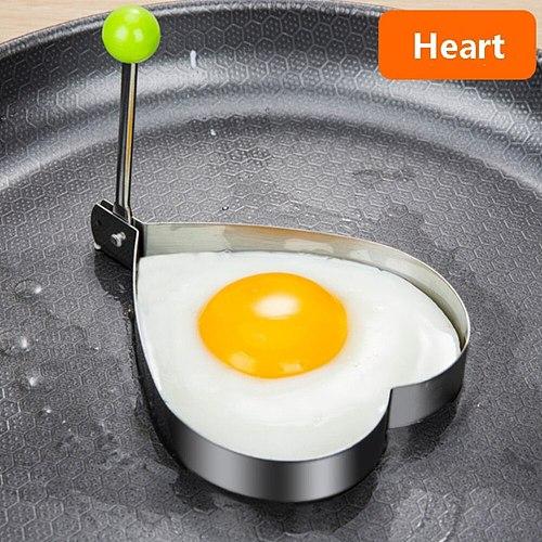 4 Shape Fried Egg Shaper Stainless Steel Fried Egg Shaper Pancake Ring Circle Mold Heart Shape Kitchen Tool Accessories Egg Tool