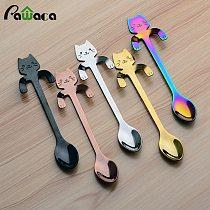 4pcs Stainless Steel Mini Cat Kitten Spoons for Coffee Tea Dessert Drink Mixing Milkshake Spoon Tableware Set Kitchen Supplies