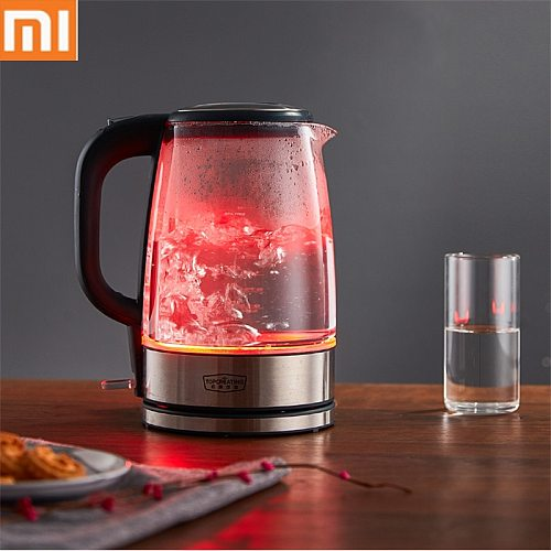 Xiaomi Glass Electric Water Kettle Stainless Steel Home Led Light Tea Pot 1.7l 220v Temperature Control Anti-dry Electric Kettle