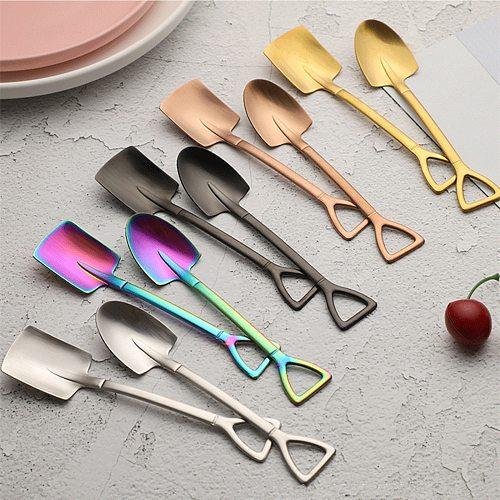 Creative retro shovel coffee spoon Dessert Shovel Spoon stainless steel watermelon spoon ice cream spoon Metal spoon kitchen