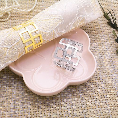 6pcs Alloy Square Hollow Napkin Rings Dinner Gold Silver Color Napkin Holder Towel Serviette Tableware Ring Buckle Table Decor