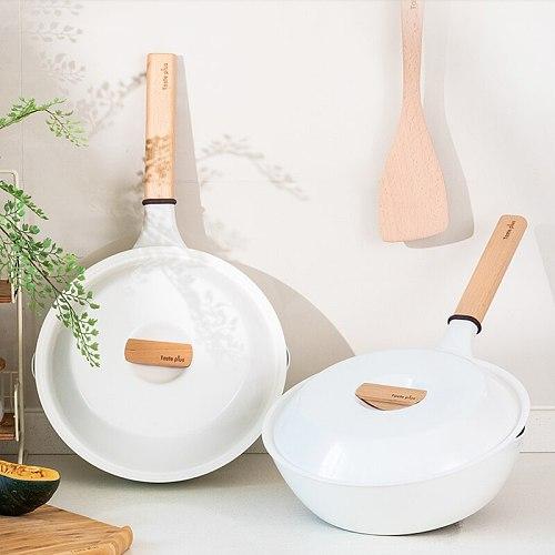 Anti-scalding temperature ring, ceramic non-stick pan, easy to clean, household enamel pan, high value