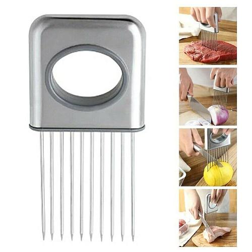 Creative Onion Slicer Steel Loose Meat Needle Potato Gadgets Safe Kitchen Fruit Aid Tool Vegetables Tomato Cutter Q2Z4