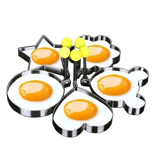5pcs/set Stainless steel Cute Shaped Fried Egg Mold pancakes Mold  Kitchen Cooking Tools
