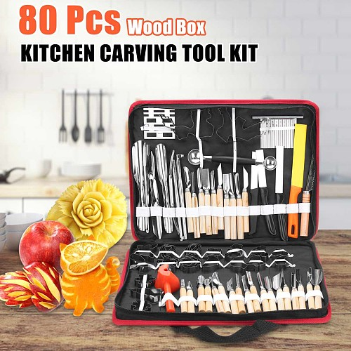 80Pcs Portable Sculpture Carving Tool with Portable Storage Bag Vegetable Food Fruit Carving Knife Set Cooking Decorating Tools