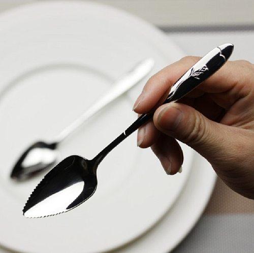 17cm Long Handle Stainless Steel Spoons Fruit Grapefruit Spoon Mirror Polishing Dessert Coffee Stirring Spoons Tea Spoons  Kid