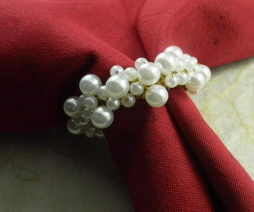 white pearl napkin ring beaded wedding  napkin ring cheap napkin ring, whole sake napkin ring