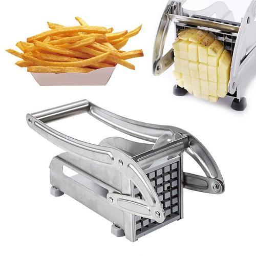 2 Blades Stainless Steel French Fries Potato Chips Strip Slicer Potato Cutter Chopper Machine Making Tools Fries Kitchen Gadgets
