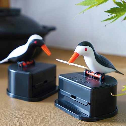 New Cute Small Bird Toothpick Container Automatic Toothpick Dispenser Toothpick Holder Home Decoration Table Decor Random Color