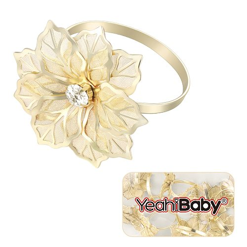 12 Pcs Napkin Rings Dedicated Exquisite Flower Design Napkin Holders for Hotel
