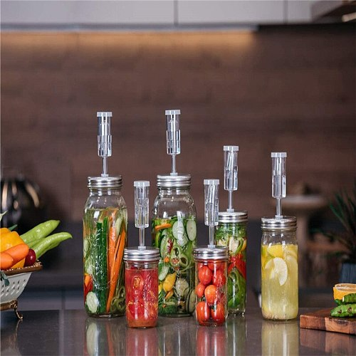 Vegetable Airlock Fermentation Lids Kit DIY Fruit With Silicone Rings Food Making Home Kitchen Tin For Mason Wide Mouth Jar
