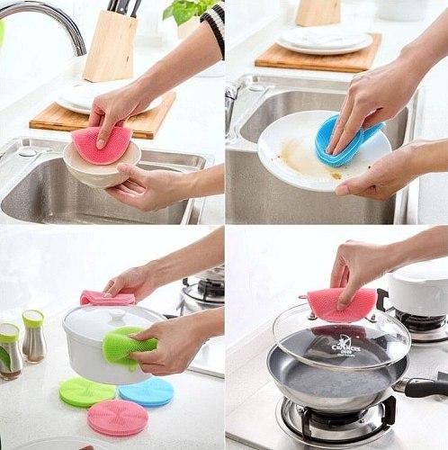 Household Cleaning Silicone Dishwashing Brush Multipurpose Silicone Scourer Dishwashing Vegetable Heat Resistant