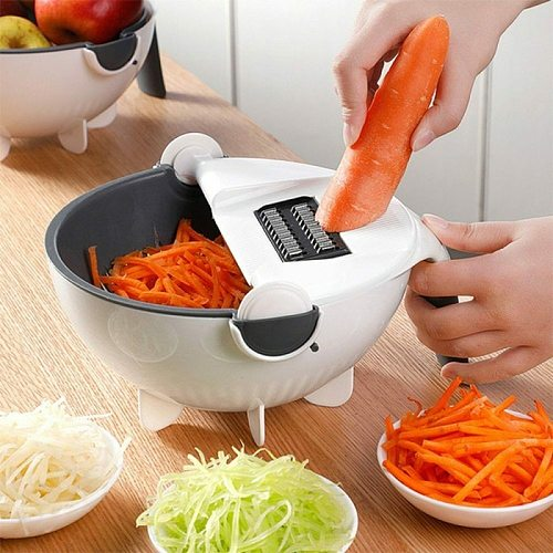 Multi Manual Slicer Drainer Bowl Vegetable Fruit Cutter Kitchen Gadget Chopper Grater With Rotate Drain Basket 8 Style Cutter