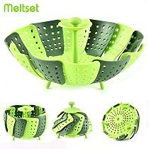 Foldable Cooking Steamer Plastic Kitchen Seatming Food Basket Vegetable Fruit Cooker Kitchen Tools