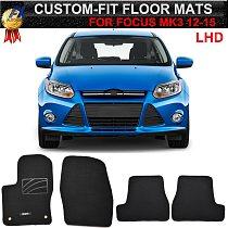 Tailored Car Floor Mat Mats For Ford Focus 3 MK3 2011 - 2018 Nylon Black Carpet Carpets Liner Pad 2012 2013 2014 2015 2016 2017