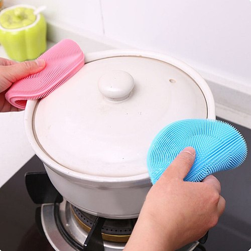 Kitchen Accessories 1Pc Silicone Magic Cleaning Brushes Washing Fruit Brush Insulation Tool Pad Pot Bowl Cleaner Kitchen Gadgets