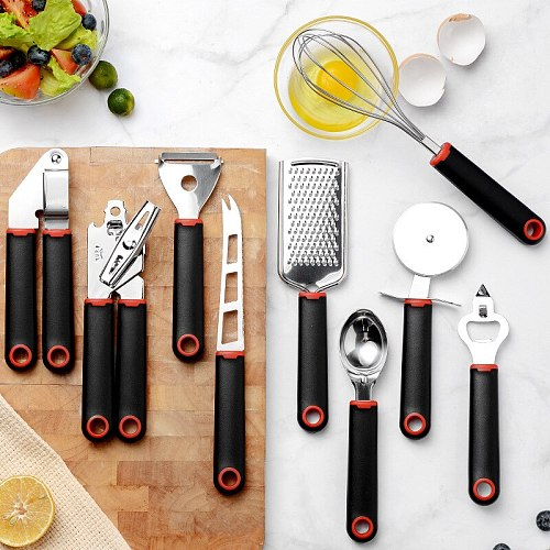 HEYI New Smooth Plastic Handle Creative Kitchen Tool 9 Piece Set Medium Cake Wheel Knife Egg Beater Pizza Knife Set HZF