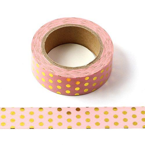 10M Decorative Gold Foil Washi Tape Pink Dots DIY Scrapbooking Sticker Label Japanese Masking tape School Office Supply