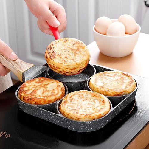 4 Hole Omelet Pan for Burger Eggs Ham Pancake Maker Wooden Handle Frying Pot Non-stick Cooking Breakfast