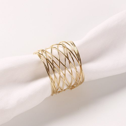 1Pcs Hotel Gold Silver Wire Mesh Napkin Ring Mouth Ring Metallic Napkin Buckle Table Wedding Decoration Support Dropshopping