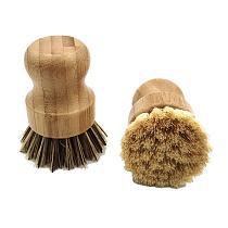 Palm Pot Brush Bamboo Round Mini Scrub Brush Natural Scrub Brush Wet Cleaning Scrubber for Wash Dishes Pots Pans and Vegetables