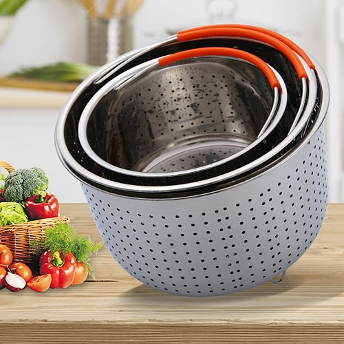 304ss Stainless Steel Steam Basket Rice Cooker Steaming Grid Pressure Cooker Anti-scalding Steamer Fruit Cleaning Basket