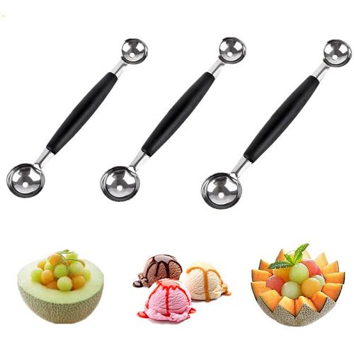 3pcs Double-End Multi Function Fruit Spoon Stainless Steel Melon Baller Carving Tool Ice Cream Scoop Spoon Fruit Vegetable Tools