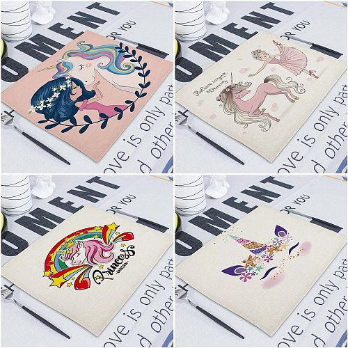 Cartoon Pink Table Mat Unicorn Individual Placemats Coasters Set 42*32Cm Pad On The Table Cup Pad Place Mats For Dining Table