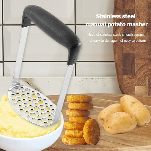 Stainless Steel Potato Pusher with Plate Mashing Plate for Smooth Mashed Potatoes Fruit Vegetable Tools Press Crusher
