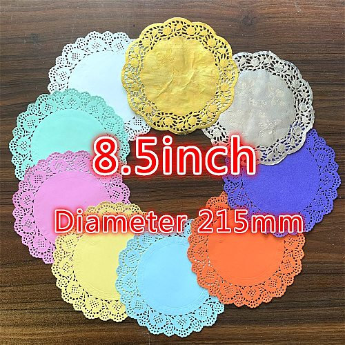 20pcs 8.5inch 9color Gold Pink Blue Red Round Diameter 215mm Paper Lace Doilies Placemat for Christmas Wedding Party Decoration