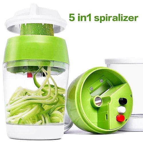 4 In 1 Vegetable Slicer Kitchen Container Adjustable Handheld Vegetable Spiralizer Spiral Cutter For Zucchini Spaghetti Maker