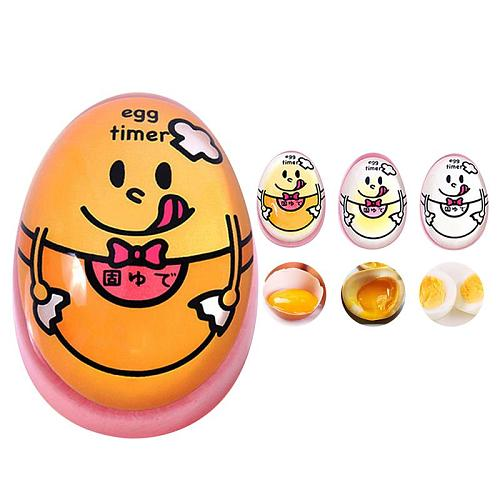 1pcs Egg Perfect Color Changing Timer Yummy Soft Hard Boiled Eggs Cooking Kitchen Eco-Friendly Resin Egg Timer Cute Timer Tools