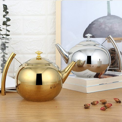 Fashion Thicker 304 Stainless Steel Water Kettle   Tea Pot With Filter Hotel Coffee Pot Restaurant Induction Cooker Tea Kettle