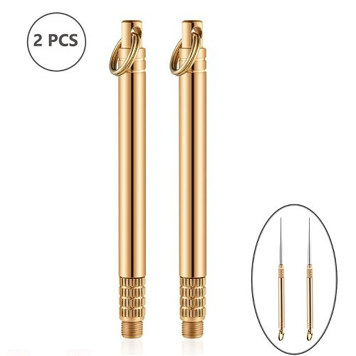 2 Pieces Pocket Titanium Warehouse Toothpick Holders Waterproof Multi-function Fruit Fork for Outdoor Picnic and Camping